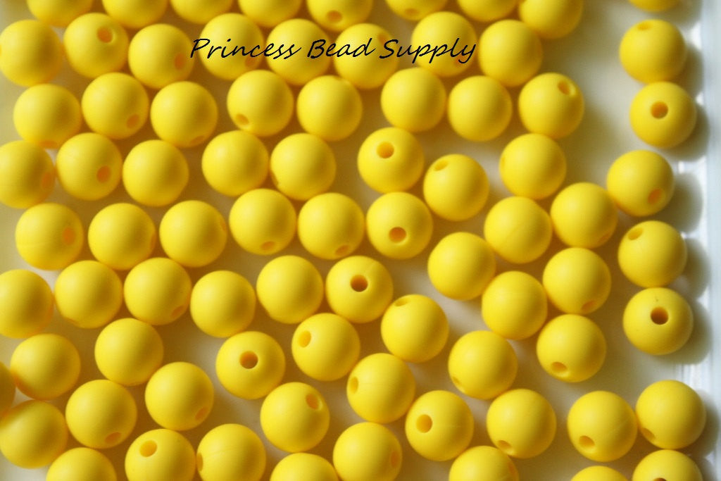 9mm Yellow Silicone Teething Beads