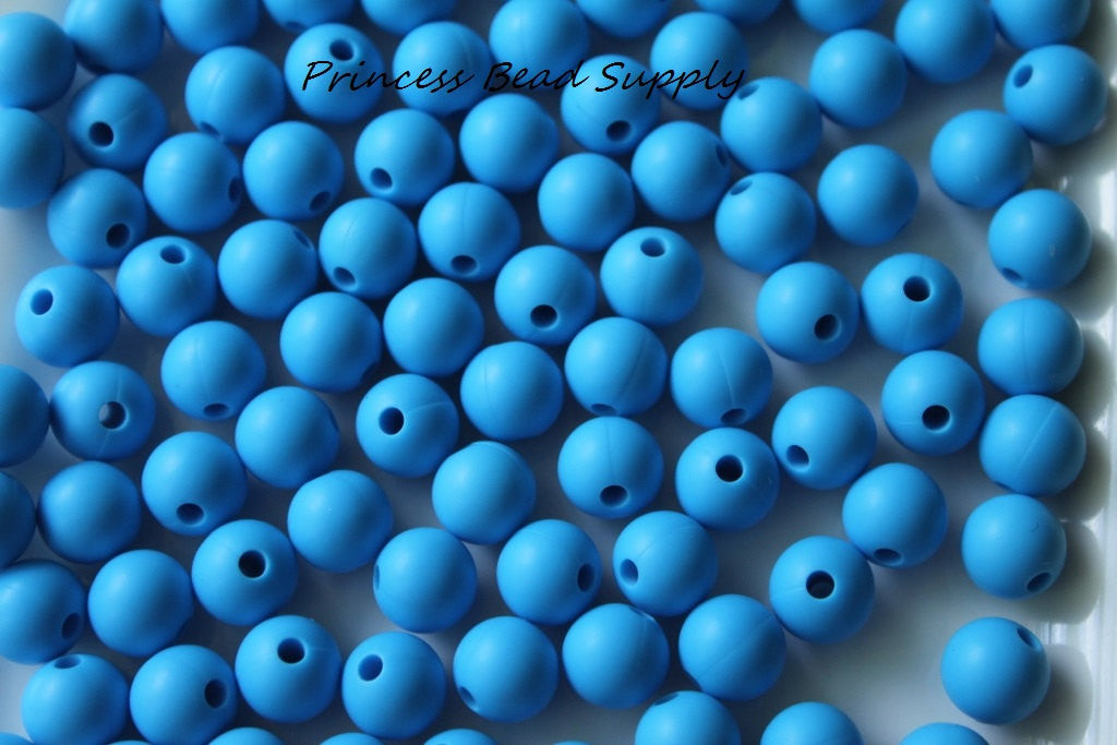 9mm Sky Blue Silicone Teething Beads