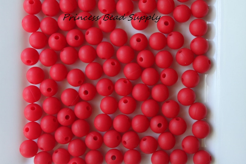 9mm Red Silicone Teething Beads