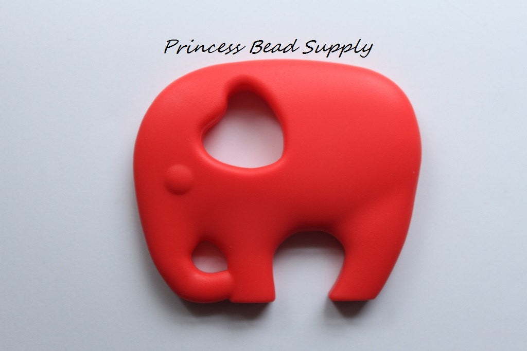 Coral Red Elephant Silicone Teether