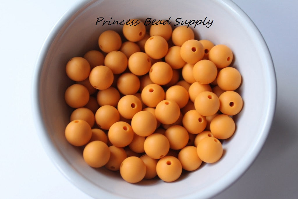 12mm Mango Orange Silicone Beads
