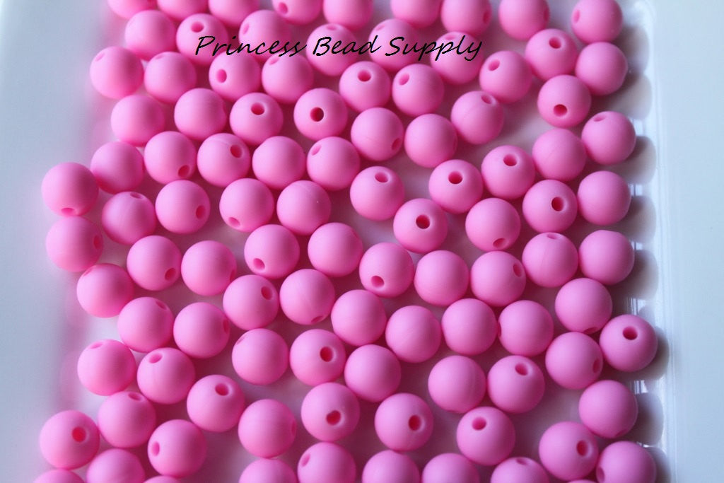 9mm Pink Silicone Teething Beads