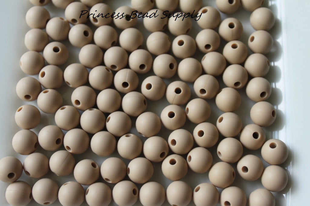9mm Oatmeal Silicone Teething Beads