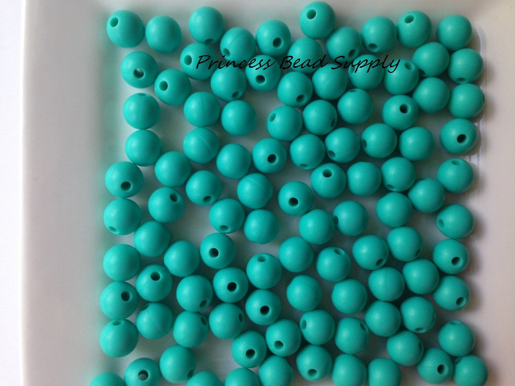 9mm Turquoise Silicone Teething Beads