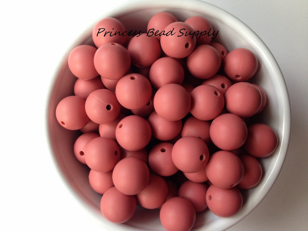 15mm Maroon Silicone Teething Beads
