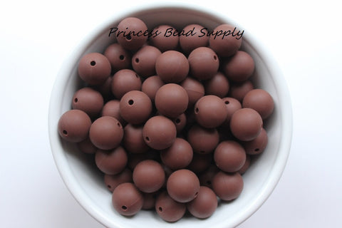 15mm Brown Silicone Beads