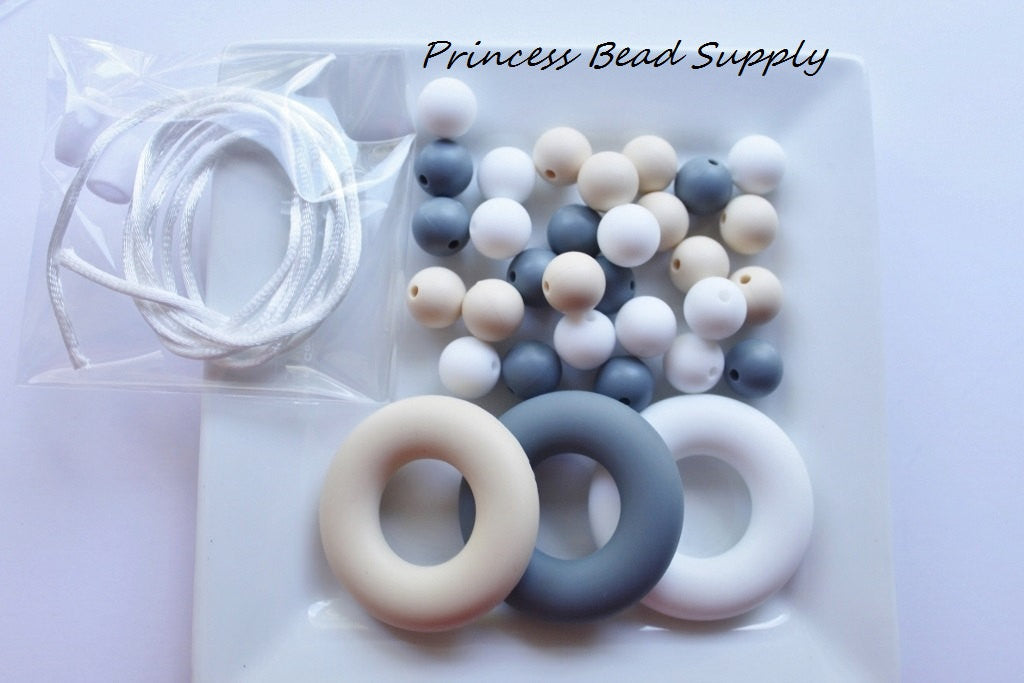White, Beige and Gray Silicone Teething Necklace Kit