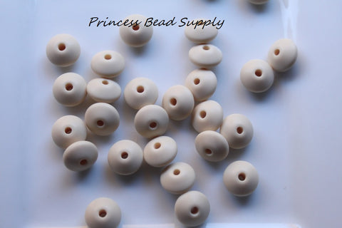 Beige Saucer Silicone Teething Beads