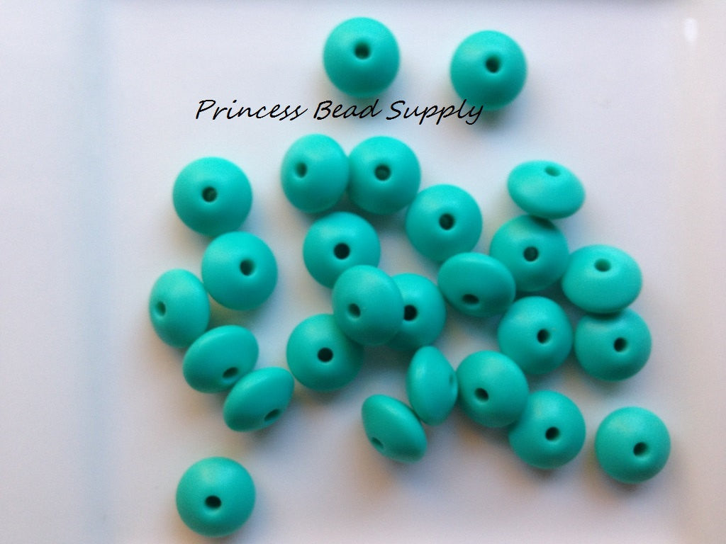 Turquoise Saucer Silicone Teething Beads