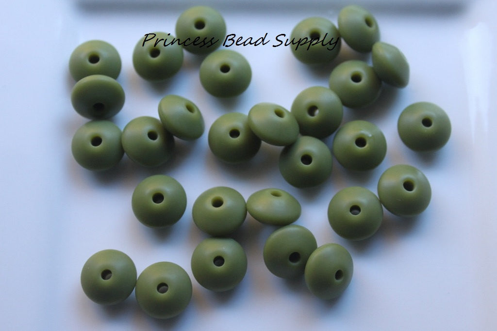 Army Green Saucer Silicone Teething Beads