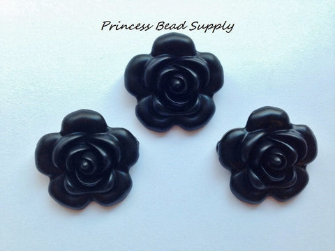 40mm Black Silicone Flower Bead