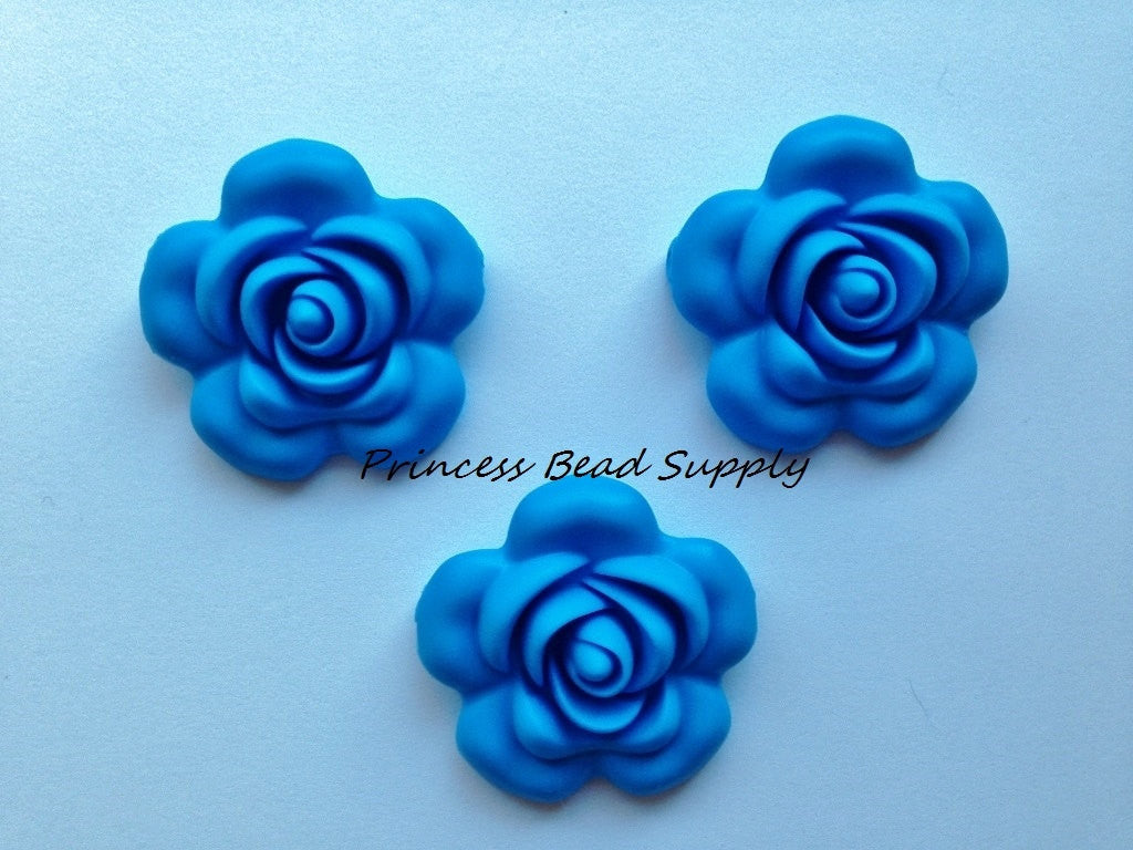 40mm Sky Blue Silicone Flower Bead