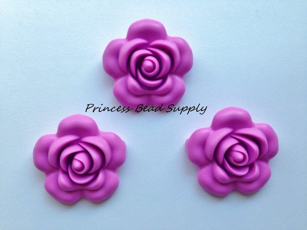 40mm Orchid Purple Silicone Flower Beads
