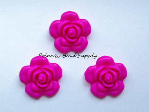 40mm Hot Pink Silicone Flower Bead