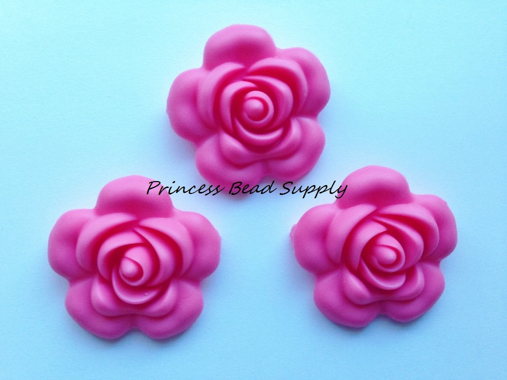 40mm Perfectly Pink Silicone Flower Bead