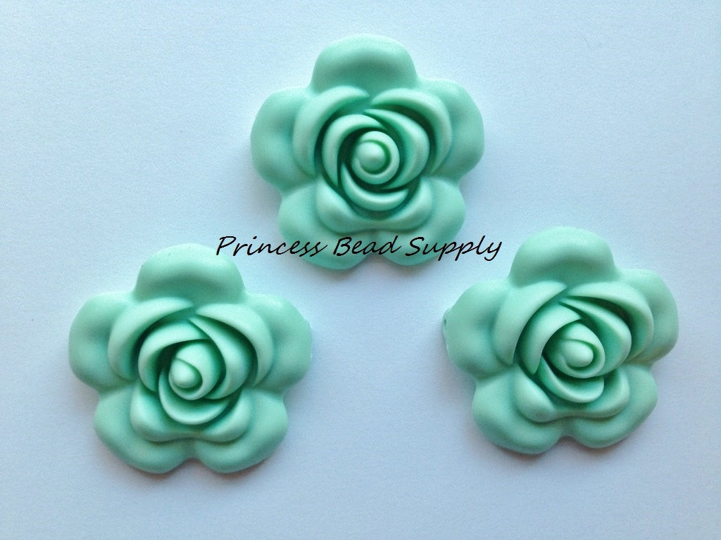 40mm Mint Silicone Flower Bead