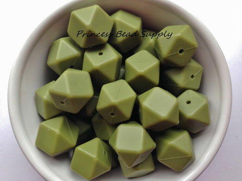 Army Green Hexagon Silicone Beads