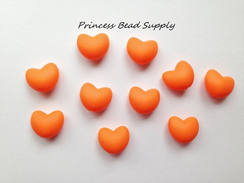 Orange Heart Silicone Teething Beads
