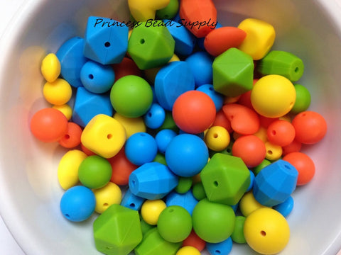 Blue, Green, Yellow & Orange Bulk Silicone Bead Mix