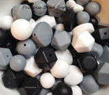 Black, White, & Gray  Bulk Silicone Bead Mix