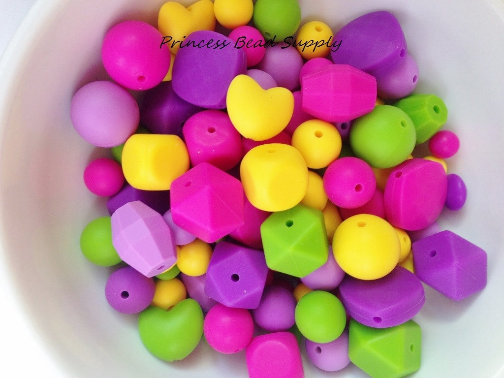 Purple, Pink Green & Yellow Bulk Silicone Bead Mix
