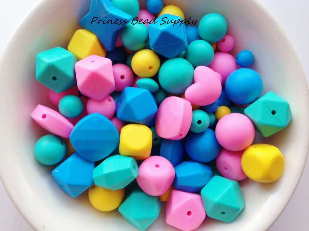 Pink, Blue, Yellow & Turquoise Bulk Silicone Bead Mix
