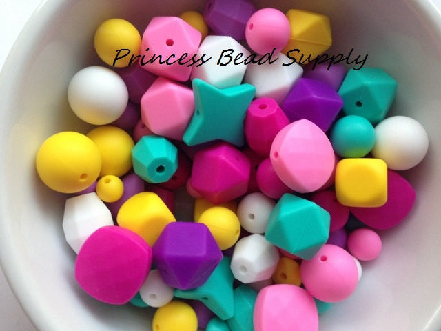 Pink, Purple, Yellow, White & Turquoise Silicone Bulk Beads