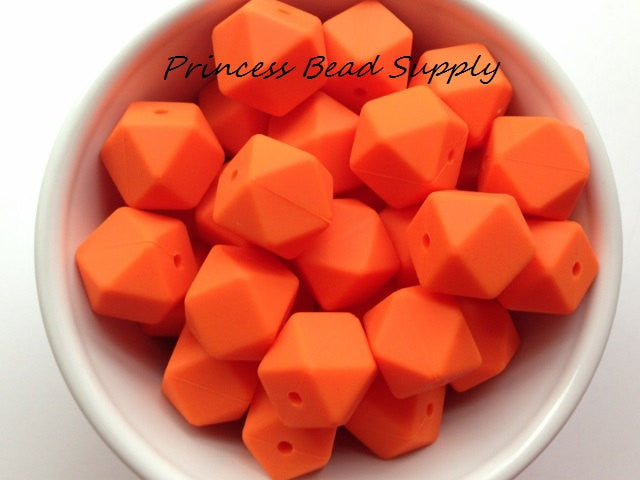 Orange Hexagon Silicone Teething Beads