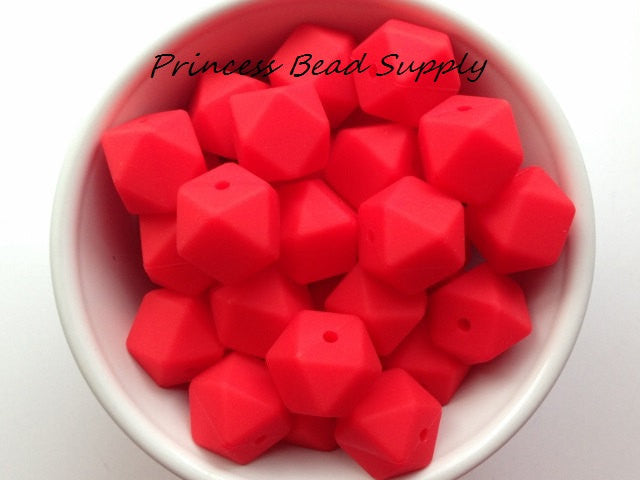 Strawberry Red Hexagon Silicone Teething Beads