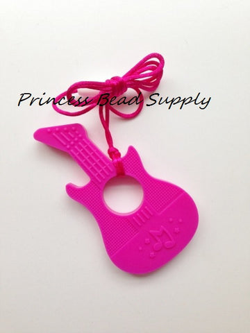 Hot Pink Silicone Guitar Teether