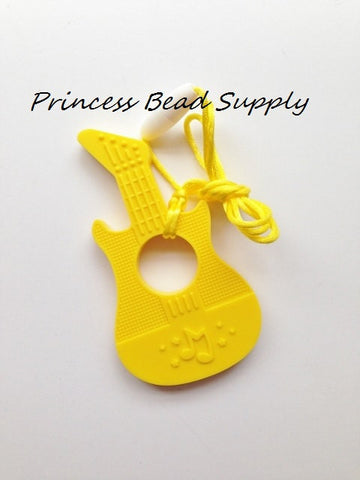 Yellow Silicone Guitar Teether