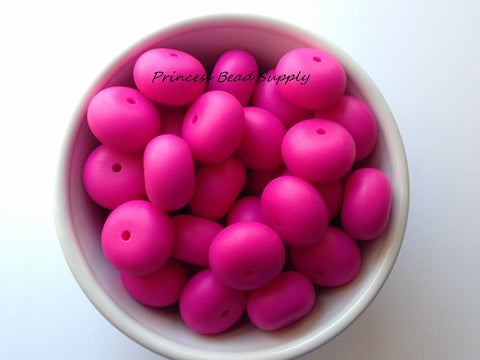 20mm Hot Pink Abacus Silicone Beads