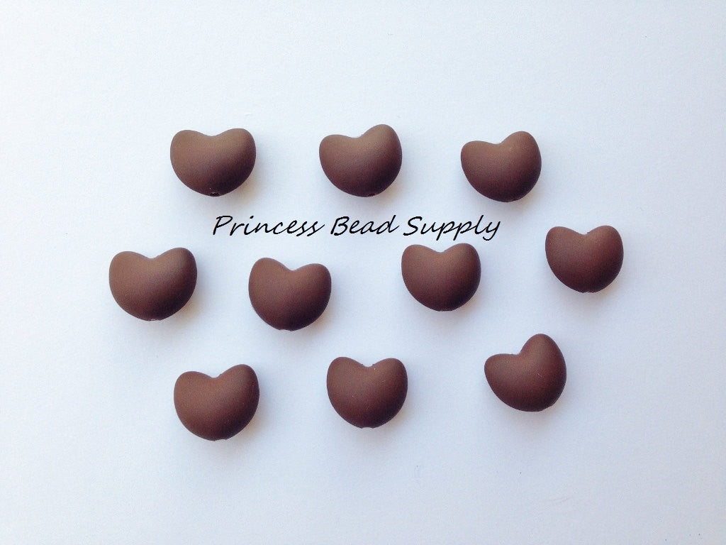 Brown Heart Silicone Teething Beads