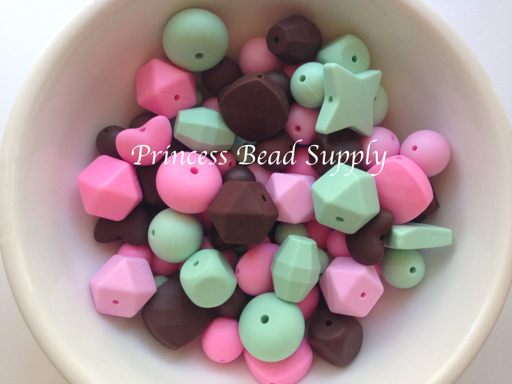 Pink, Mint & Brown Silicone Bulk Beads