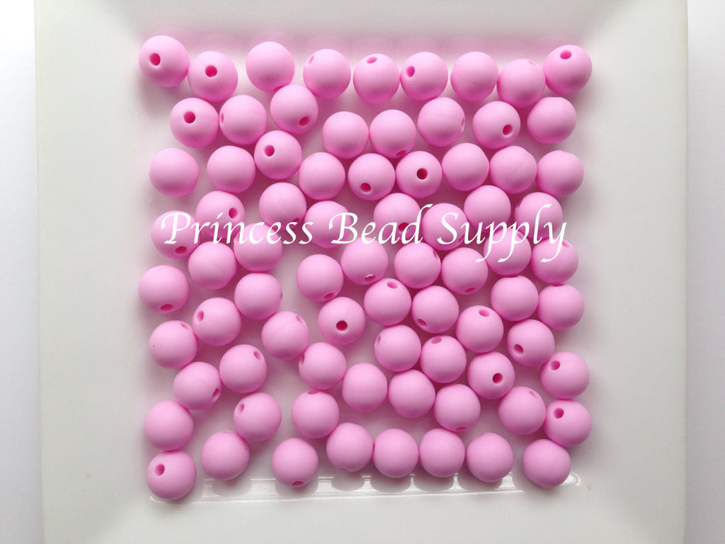 9mm Light Pink Silicone Beads
