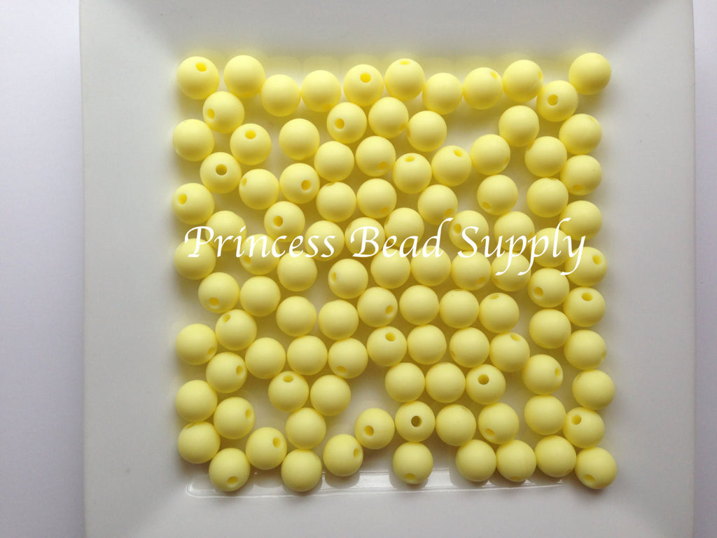 9mm Light Yellow Silicone Teething Beads,