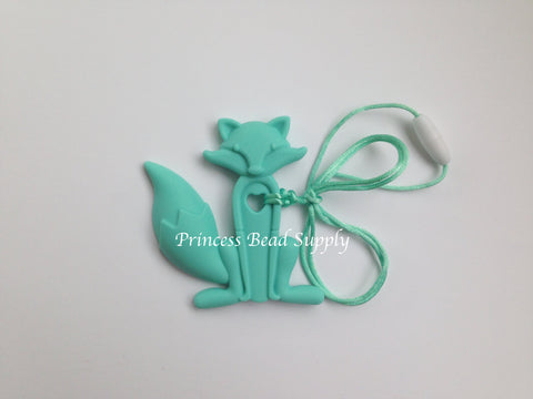 Light Turquoise Silicone Fox Teether