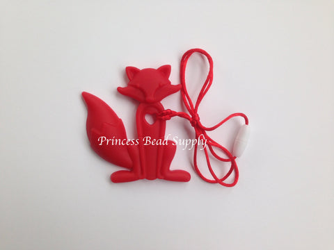 Red Silicone Fox Teether