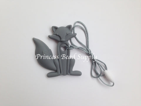 Gray Silicone Fox Teether