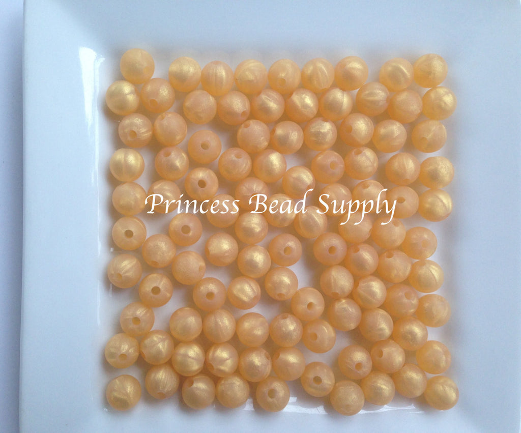 9mm Metallic Gold Silicone Teething Beads