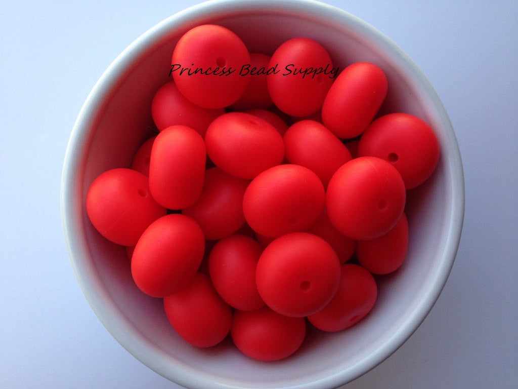 20mm Strawberry Red Abacus Silicone Teething Beads