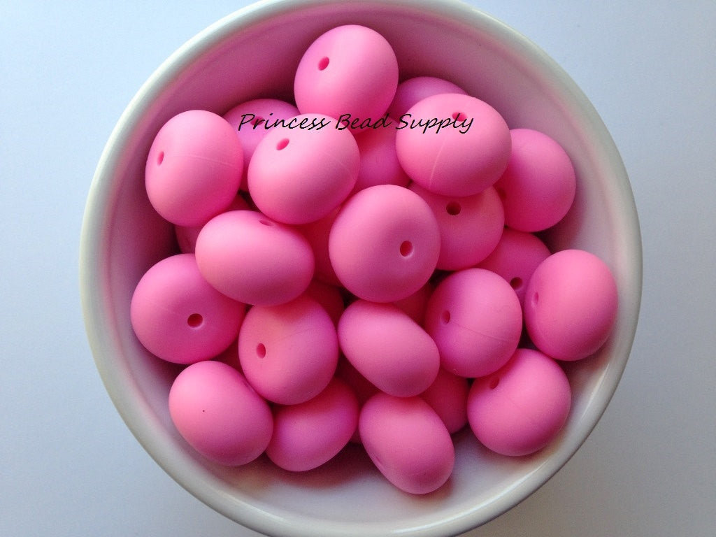 20mm Pink Abacus Silicone Teething Beads