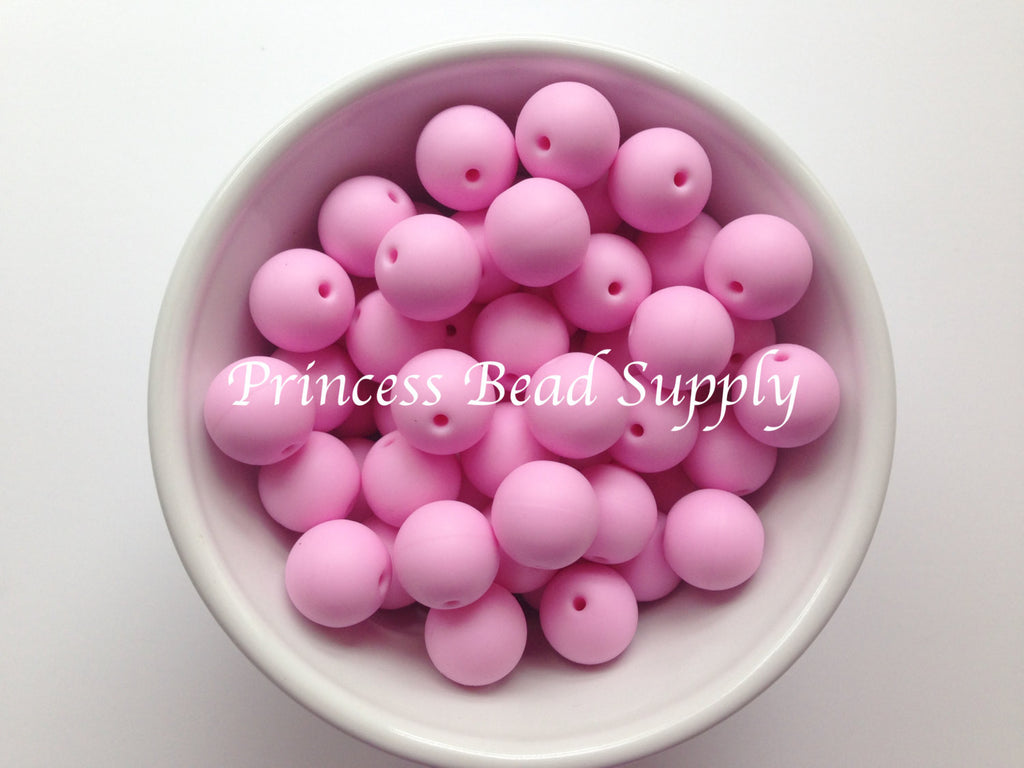 15mm Light Pink Silicone Teething Beads