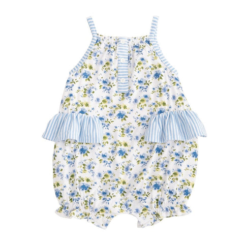Vintage Blue Floral Ruffle Bubble