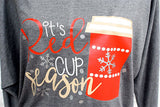 'It's Red Cup Season' Off the Shoulder Slouchy Shirt