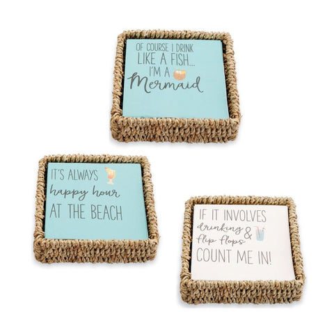 Beach Cocktail Napkin & Basket Set