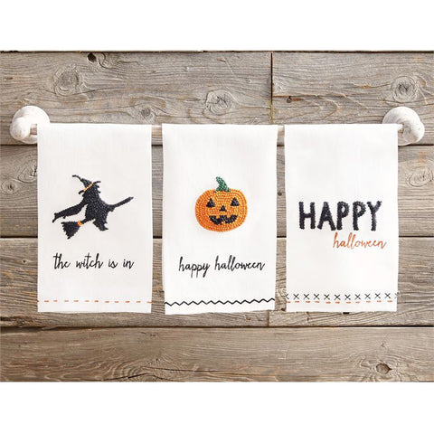 Halloween French Knot White Towels