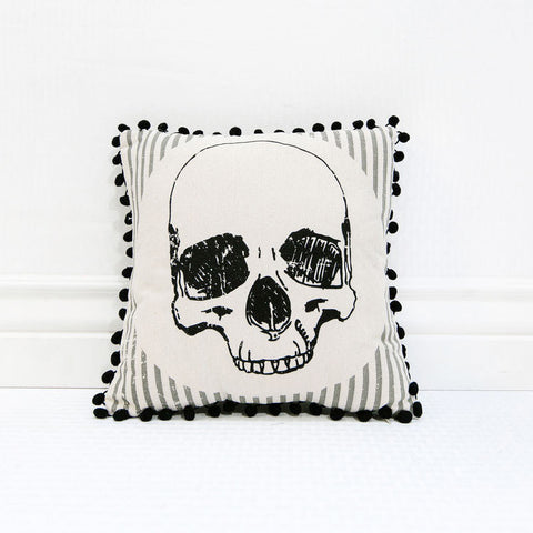 Canvas Skull Pillow