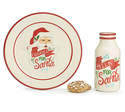 Cookies For Santa Gift Set Plate And Milk Bottle