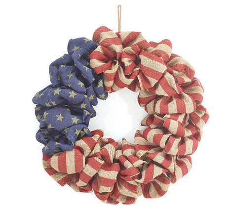 Wreath - Burlap Flag